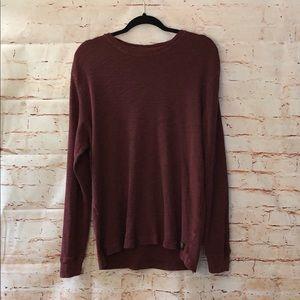 Lucky Brand XL Burgundy Slub Thermal Shirt Mens